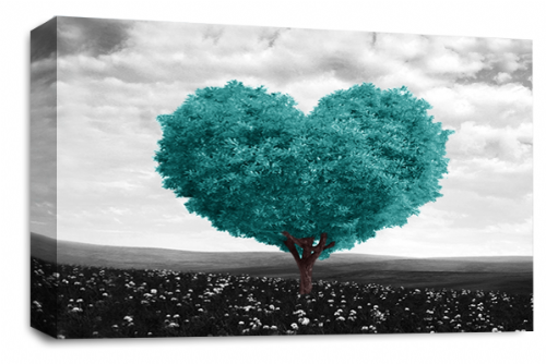 Love Heart Canvas Wall Art Picture Floral Tree Teal